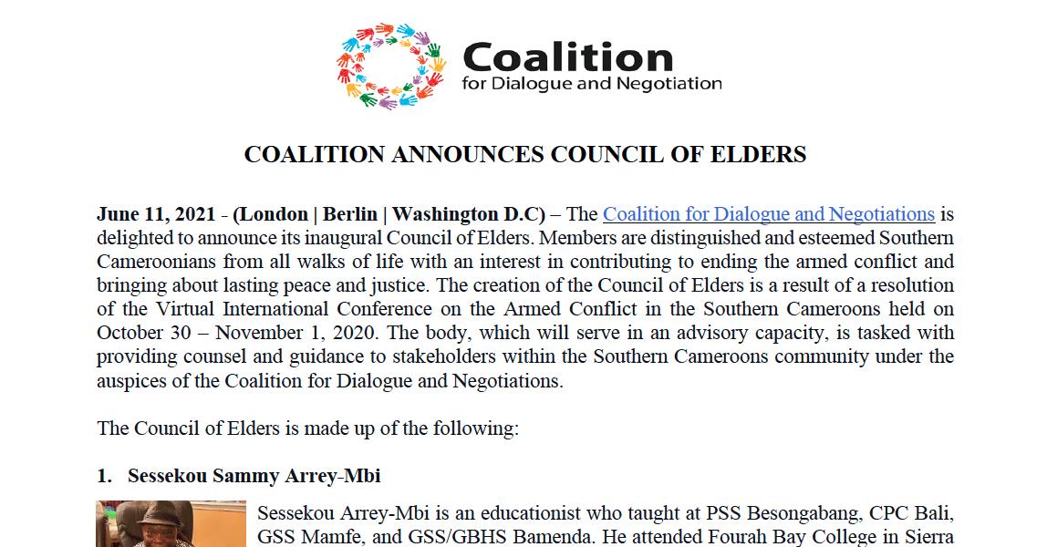 Coalition Announces Council of Elders